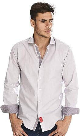 Camisa Manga Larga Blanca de Vestir, Slim fit, con Cuadros Finos en Color Chocolate para Hombre: Amazon.es: Ropa y accesorios