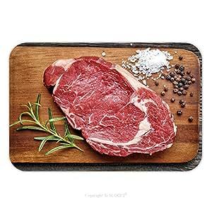 Franela de microfibra antideslizante suela de goma suave absorbente Felpudo alfombra alfombra alfombra Raw Beef Steak sobre tabla de cortar de madera 345012206para interior/exterior/cuarto de baño/cocina/Estaciones de trabajo