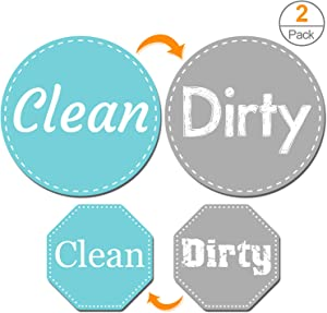 Magnet for Dishwasher, 2 Shapes Clean Dirty Signs, Dishwasher Accessories, Double Sided Flip with Bonus Metal Plate, Simple Clear Reversible Indicator Works for Kitchen Dish Washer Storage