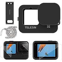 TELESIN Zestaw akcesoriów do GoPro Hero 9 czarny silikonowy gumowy pokrowiec ochronny + osłona obiektywu + pasek + 4 szt…