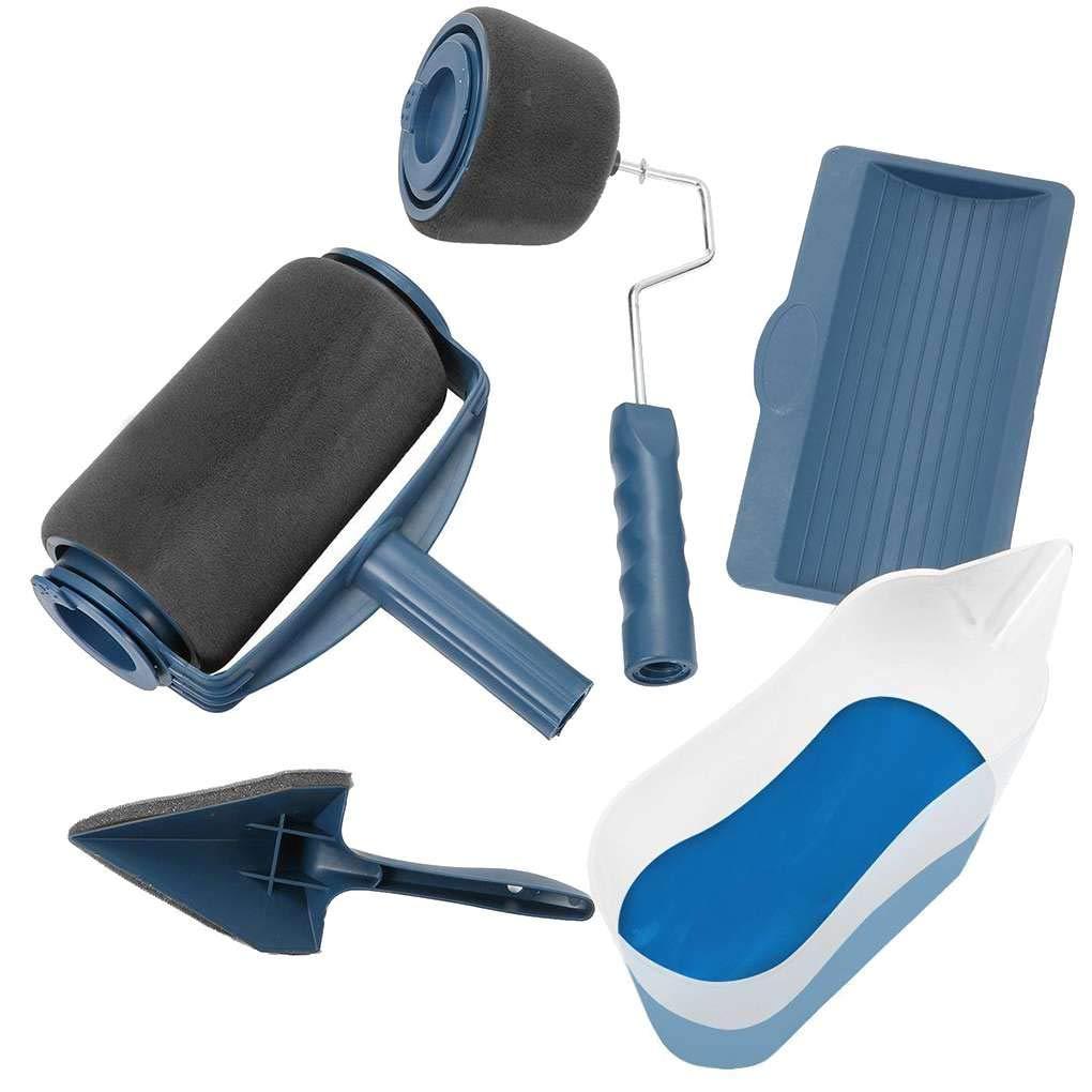 Minzhi 5PCS/Set Paint Runner Pro Roller Brush Handle Tool Flocked Edger Office Room Wall Painting Roller Paint Brush
