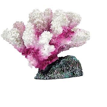 JUZIPI Decoración para Acuario con Acuario, Color Blanco y Rosa, Decoración para pecera de