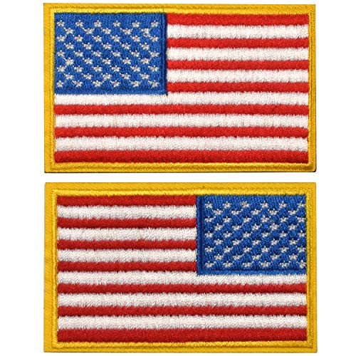 2 Pieces Tactical US American Flag Patch, Military USA United States of America Uniform Emblem Patches, Multitan - Reverse Gold Border