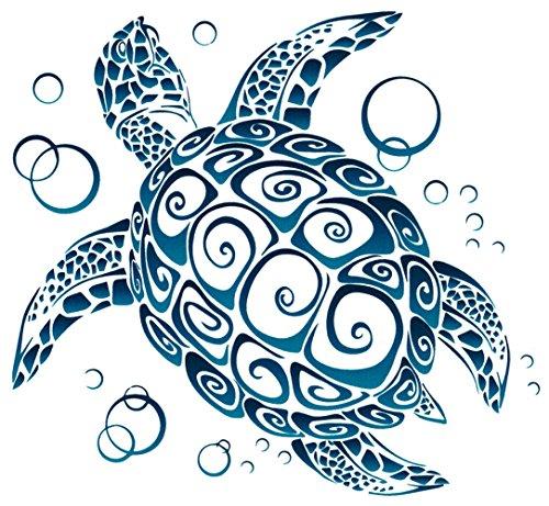 (Sea Turtle Tribal Window Sticker Decal (5