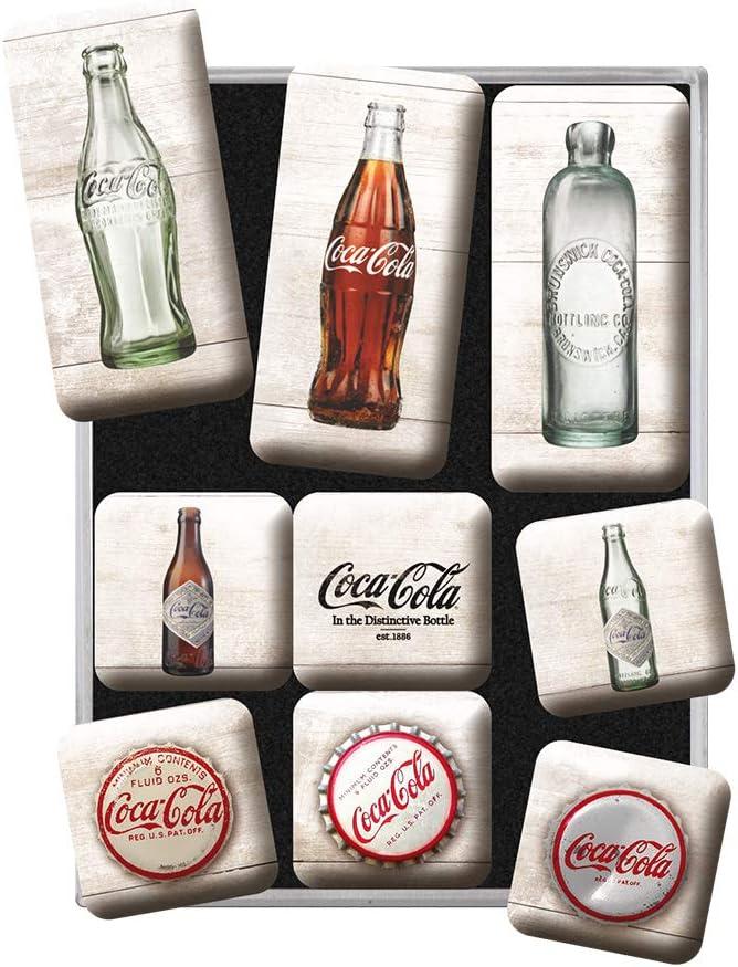 Nostalgic-Art Juego de Imanes Retro Coca-Cola – Bottles – Regalo Aficionados a la Coke, Decoración para la Nevera, Diseño Vintage, 9 Unidades