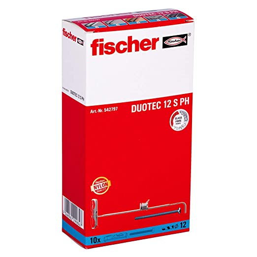 Fischer Taco DuoTec 12 T (Caja Tacos + 10 Tornillos), 542797, Grau/Rot