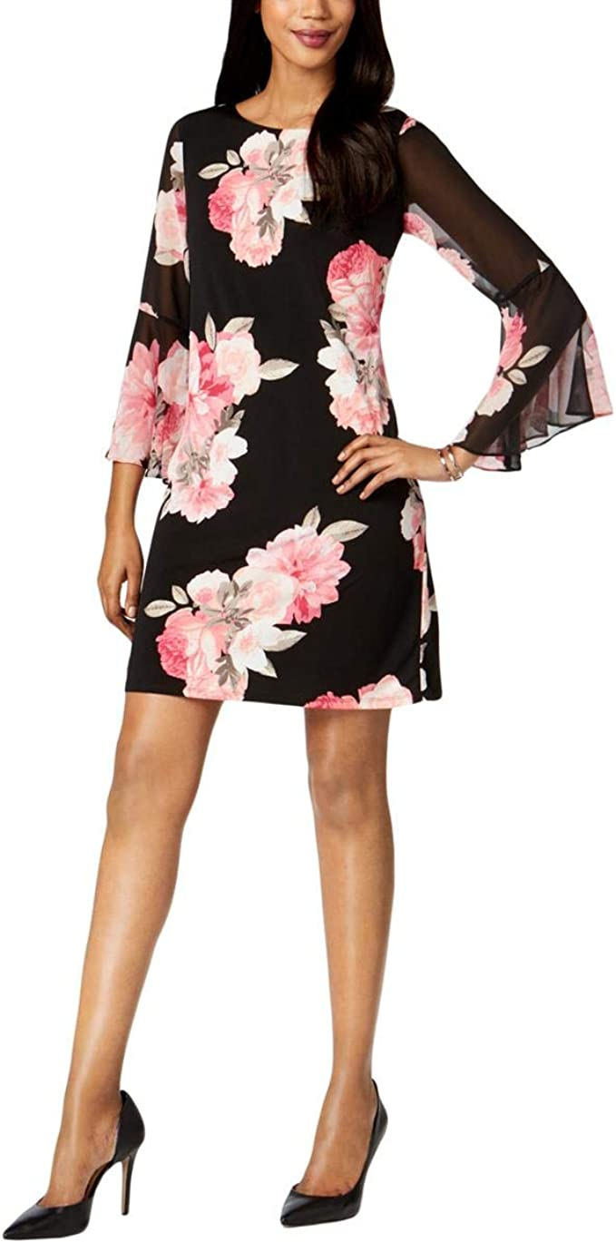 Jessica Howard Womens Petite Release Pleated Bell Sleeve Sheath Dress