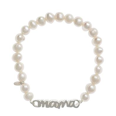 89e46c90e Córdoba Jewels | Pulsera de Perlas de Plata de Ley 925 con diseño Máma Perla  de 33mm.Ajustable: Amazon.es: Joyería
