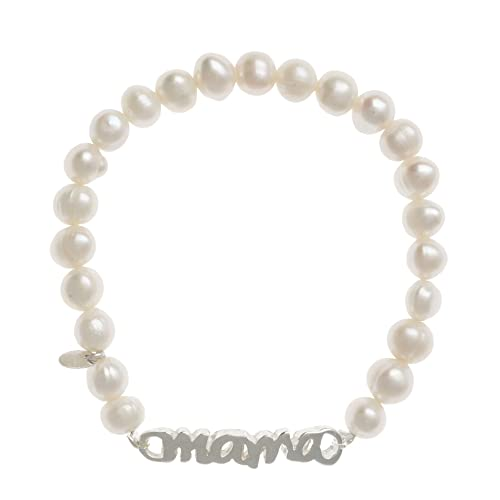 Córdoba Jewels   Pulsera de Perlas de Plata de Ley 925 con diseño Máma Perla de 33mm.Ajustable
