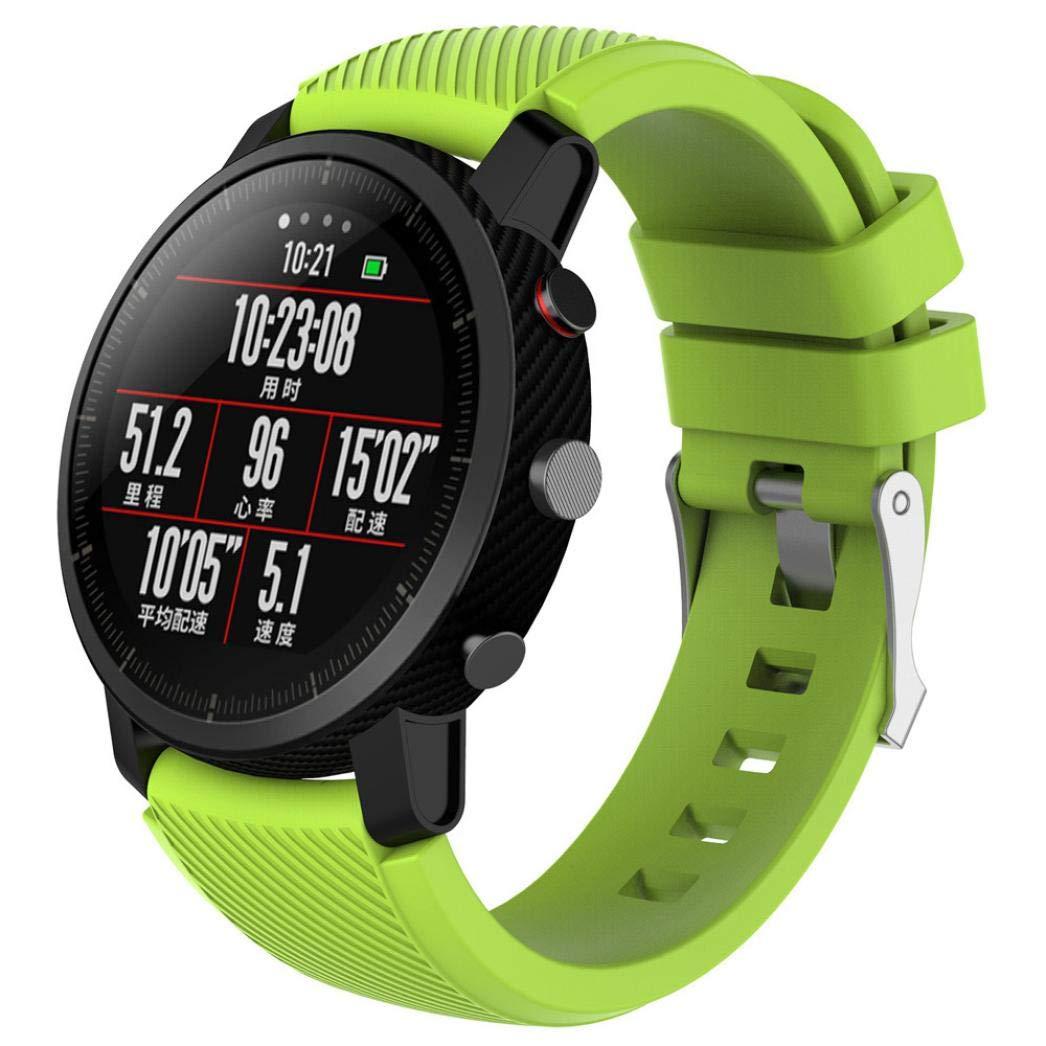 Modaworld _Correa de reloj Suave de Silicona Sports Band para HUAMI Amazfit Stratos Smart Watch 2 Correas de Reloj Inteligente Pulseras de Repuesto (Verde ...