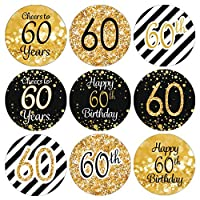 DISTINCTIVS Black and Gold 60th Birthday Party Favor Stickers - 180 Labels