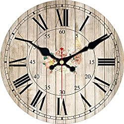 Eeroclock 3 Patterns Vintage Wooden Clock Flower Design Silent Living Kitchen Home Decor Watches Large Art Wall Clocks 4 Size New Pink 16 inch (40 cm)