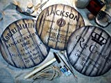 Custom sign inspired by whiskey barrel tops | Personalized Gifts for men | Rustic wall decor | Hand-painted theme on a worn out, distressed wood plaque | Home Bar, Man Cave decoration