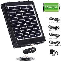 WILDGAMEPLUS Panel solar recargable, 14W 8000mAh 12V/1.2A 9V/1.6A 6V/2.4A IP54 Cargador a prueba de agua con cables para…