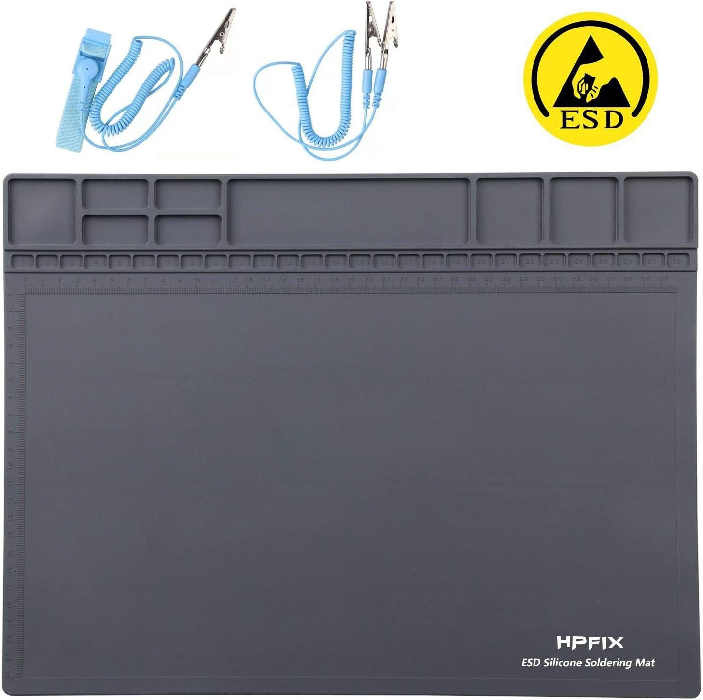 """Anti-Static Mat ESD Safe for Electronic Includes ESD Wristband and Grounding Wire, HPFIX Silicone Soldering Repair Mat 932°F Heat Resistant for iPhone iPad iMac, Laptop, Computer, 15.9"""" x 12"""" Grey"""