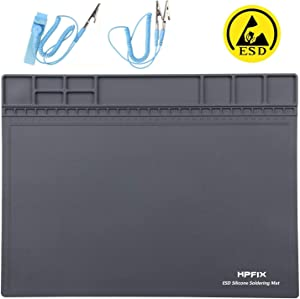 "Anti-Static Mat ESD Safe for Electronic Includes ESD Wristband and Grounding Wire, HPFIX Silicone Soldering Repair Mat 932°F Heat Resistant for iPhone iPad iMac, Laptop, Computer, 15.9"" x 12"" Grey"