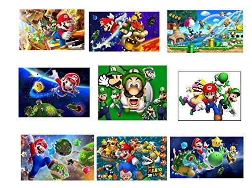 9 Super Mario Stickers, Party Supplies, Favors, Labels, Decorations, Birthday, Gifts, Mario Brothers, Luigi, (Yoshi Mario Brothers)