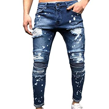 a84a6a7123 Amazon.com: 2019 Latest Hot Style! Teresamoon Men's Autumn Denim Cotton  Straight Ripped Hole Trousers Distressed Jeans Pants: Clothing