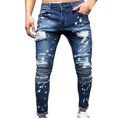 beautyjourney Jeans de Agujero Rasgado de los Hombres ...