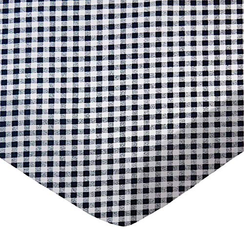 SheetWorld 100% Cotton Percale Fitted Crib Toddler Sheet 28 x 52, Navy Gingham Check, Made in ()