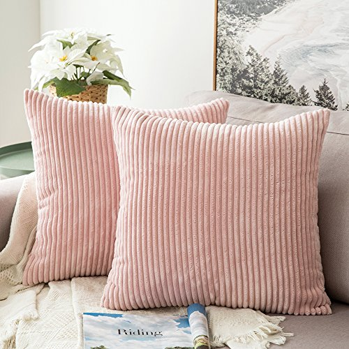 MIULEE Pack of 2, Corduroy Soft Soild Decorative Square Throw Pillow Covers Set Cushion Cases Pillowcases for Sofa Bedroom Car 18 x 18 Inch 45 x 45 cm (Rose Throw Pillow Pink)
