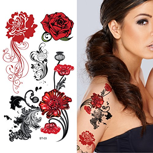 Supperb Temporary Tattoos - Europe Beauties Red Rose -