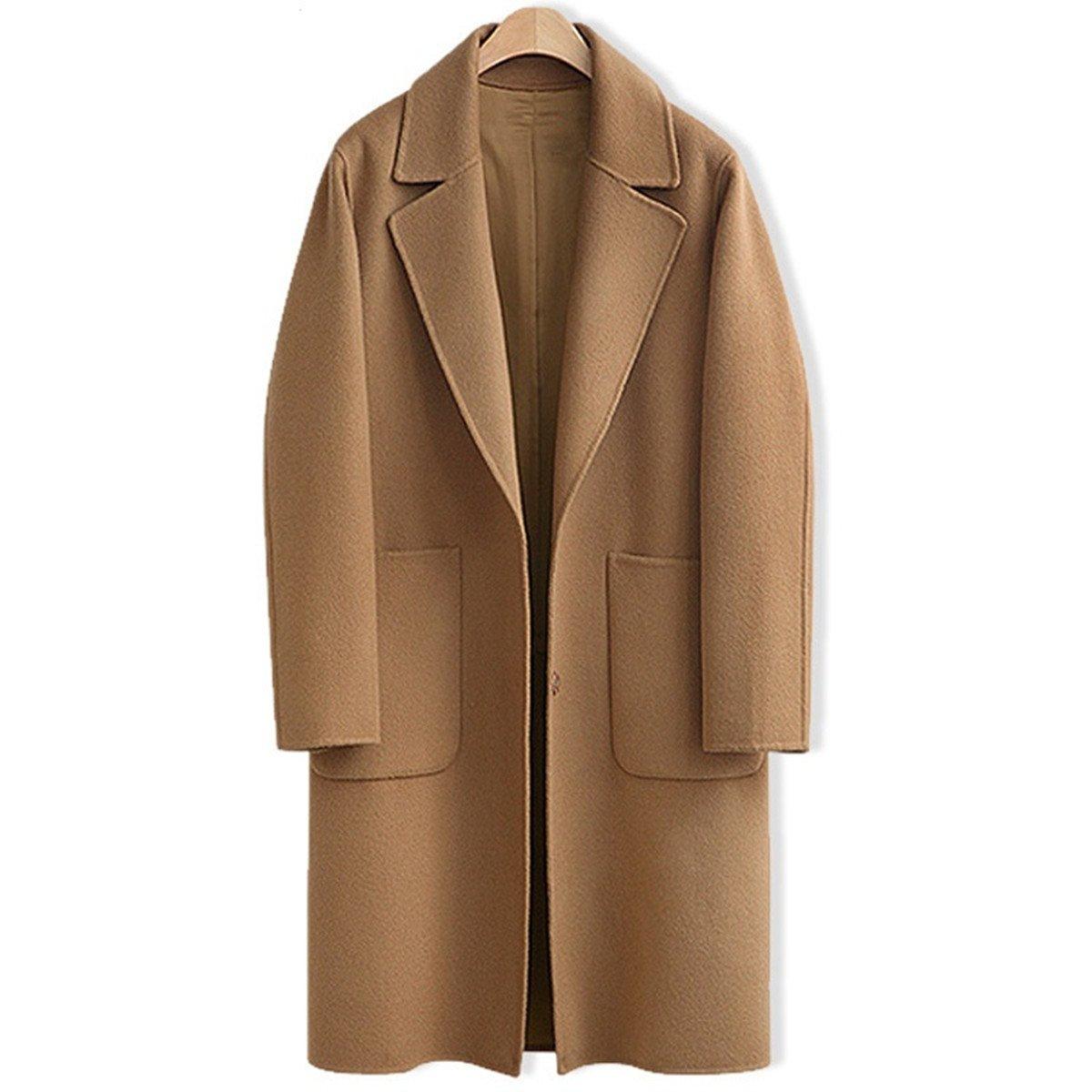 AOMEI Long Oversize Wool Coats for Women Winter Button Closure Camel Color Outwear Size XL