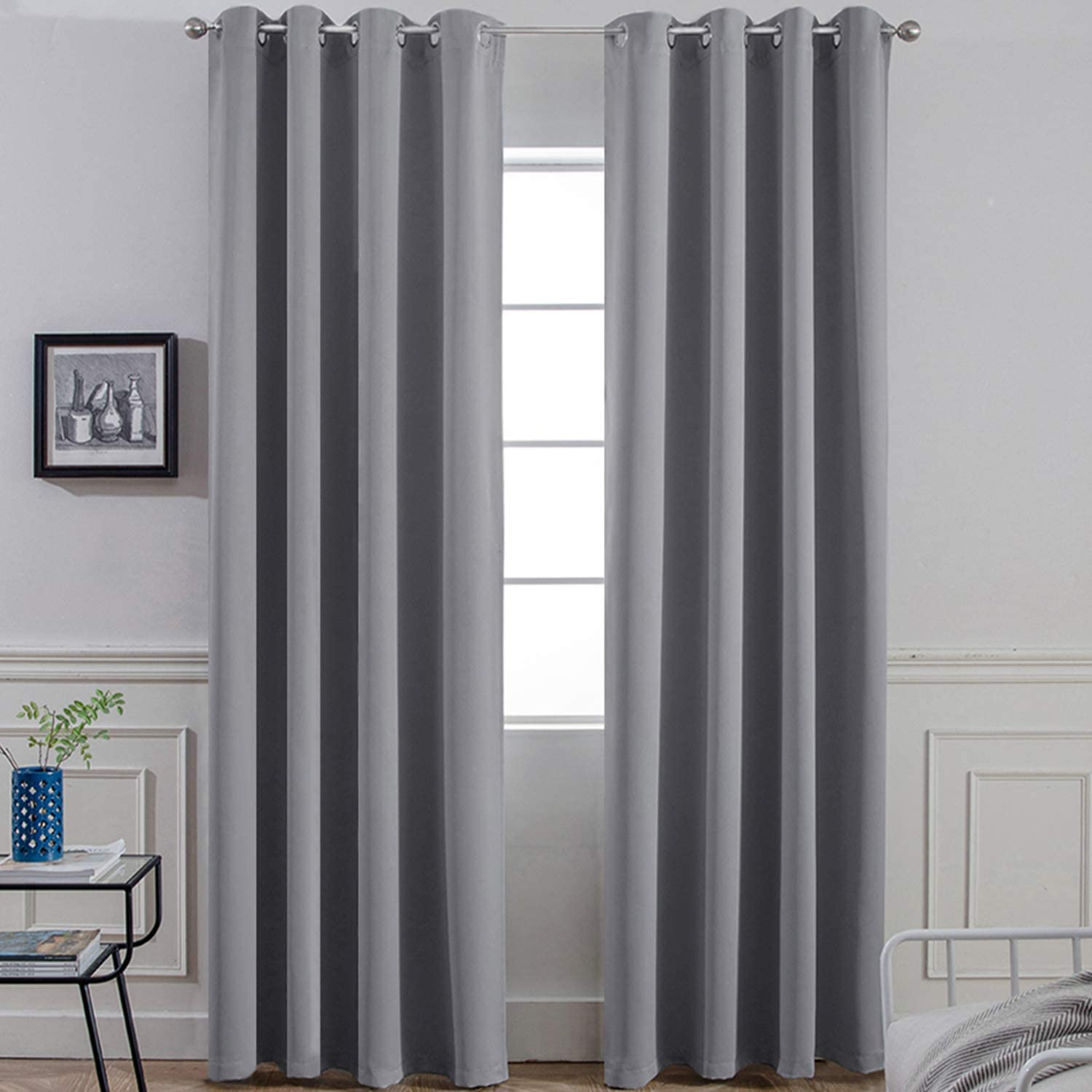 Yakamok 96 Inches Thermal Curtain Panels Gray Blackout Curtains Room Darkening Window Drapes with 8 Grommets,Grey, Set of 2, 2 Tie Backs Included