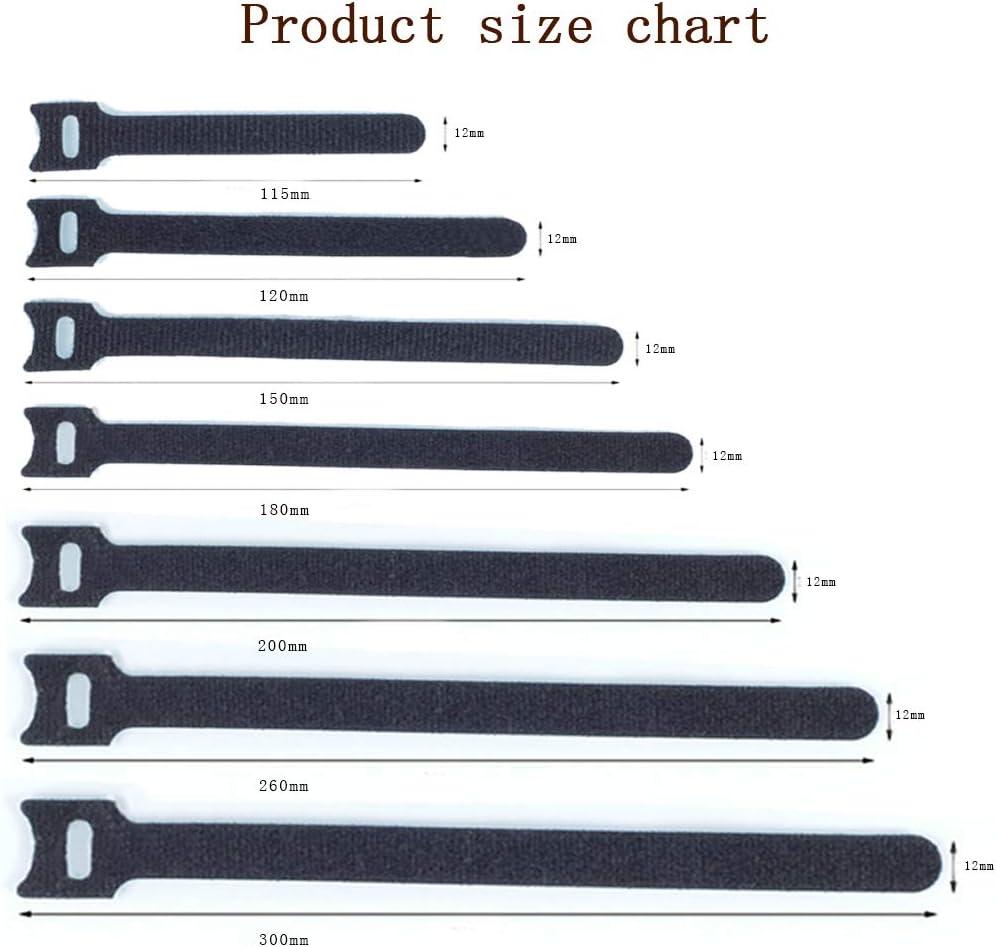 10x115mm Sangles de C/âbles R/éutilisables Organisateur de C/âbles pour T/él/évision//Ordinateur//Ligne de donn/ées YOFASEN 20pi/èce Attache C/âbles Set Noir