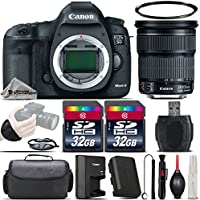 Canon EOS 5D Mark III DSLR Full Frame 22.3MP Camera + Canon 24-105mm IS STM Lens + 64GB Storage + Wrist Grip Strap + Case + UV Filter + Card Reader + Cleaning Brush - International Version