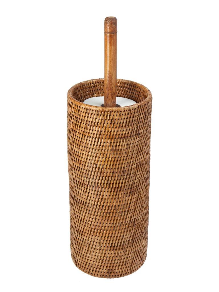 KOUBOO 3 Rolls La Jolla Hand Woven Rattan Toilet Roll Stand, Honey Brown by Kouboo