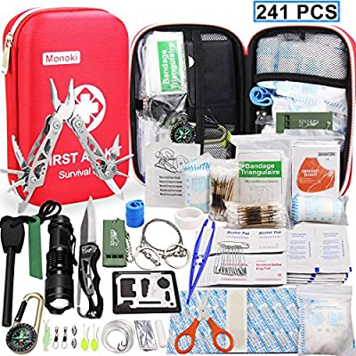 Monoki First Aid Kit Survival Kit, 241Pcs Upgraded Outdoor Emergency Survival Kit Gear - Medical Supplies Trauma Bag Safety First Aid Kit for Home Office Car Boat Camping Hiking Hunting Adventures from Monoki