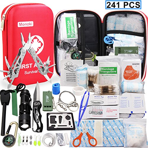 Monoki First Aid Kit Survival Kit, 241Pcs Upgraded Outdoor Emergency Survival Kit Gear - Medical Supplies Trauma Bag Safety First Aid Kit for Home Office Car Boat Camping Hiking Hunting Adventures (Emergency First Aid Kit)
