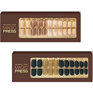 [DASHING DIVA–Nails]Premium Magic Press Super Slim Fit-Caramel Beige+Blue Army 252/253TUC (2 Different Designs 30strips+30strips in 12 sizes)