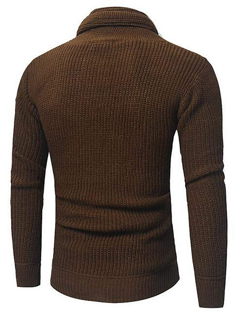 Fensajomon Men Winter Solid Knitted Warm Slim Turtleneck Pullover Sweater