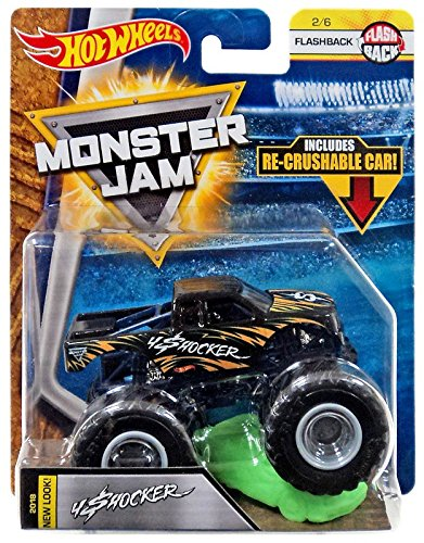 2018 Hot Wheels Monster Jam 1:64 Scale Truck with Re-Crushable Car - 4 Shocker