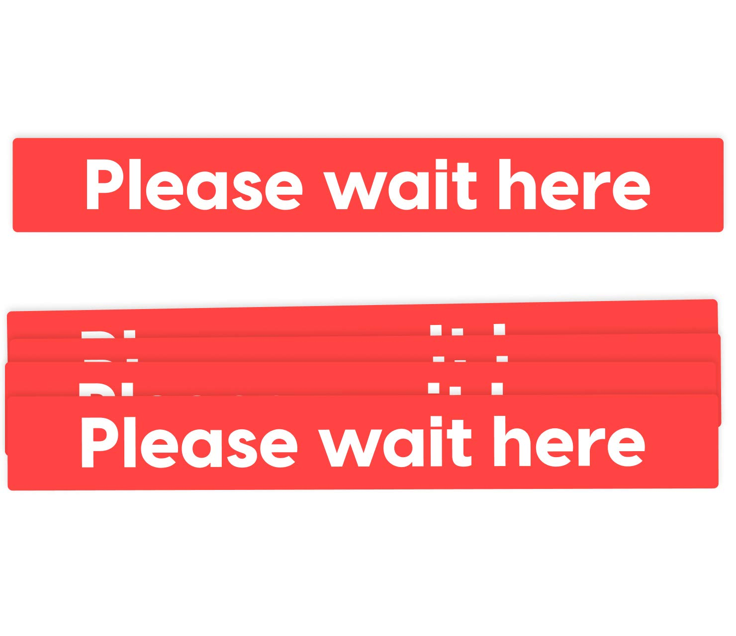 Social Distancing Floor Decals - Please Wait Here - Removable Waterproof Adhesive Anti-Slip - Designed in The U.S.A. - 5 Pack (26x3.5 Bar)