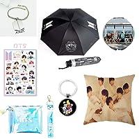 Grapes Garden BTS Parapluie+Porte-clés+Taie d'Oreiller Double-face+Bracelet+Sac Cosmétique+Miroir de Maquillage+Autocollant, Bts Cadeau pour les Filles