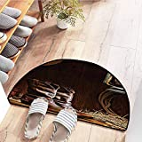 SEMZUXCVO Printed Door mat Western Decorations Collection Traditional Leather Roper Boots Picture Print Quick and Easy to Clean W30 x L18 Brown Sienna Peru