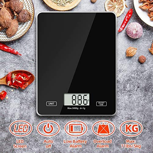 Digital Kitchen Weighing Scales, Meromore Food Scales with Tempered Glass Platform Electronic Cooking Scales for Home and Kitchen, 5kg/11lb