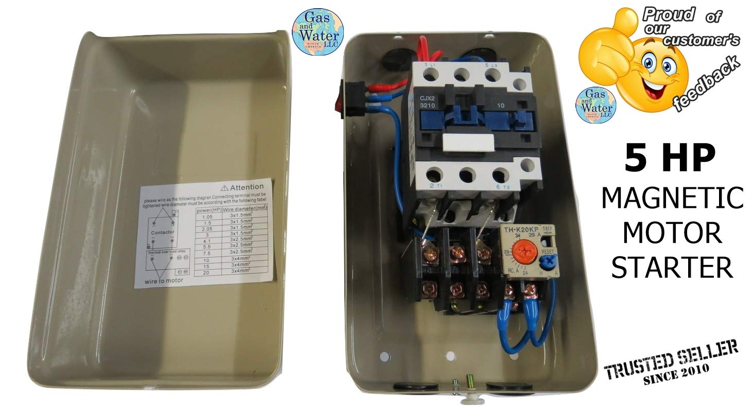 New Magnetic Motor Starter Control For Electric Compressor 5hp Push Button And The Forward Reverse 1ph 230v 34 Amp