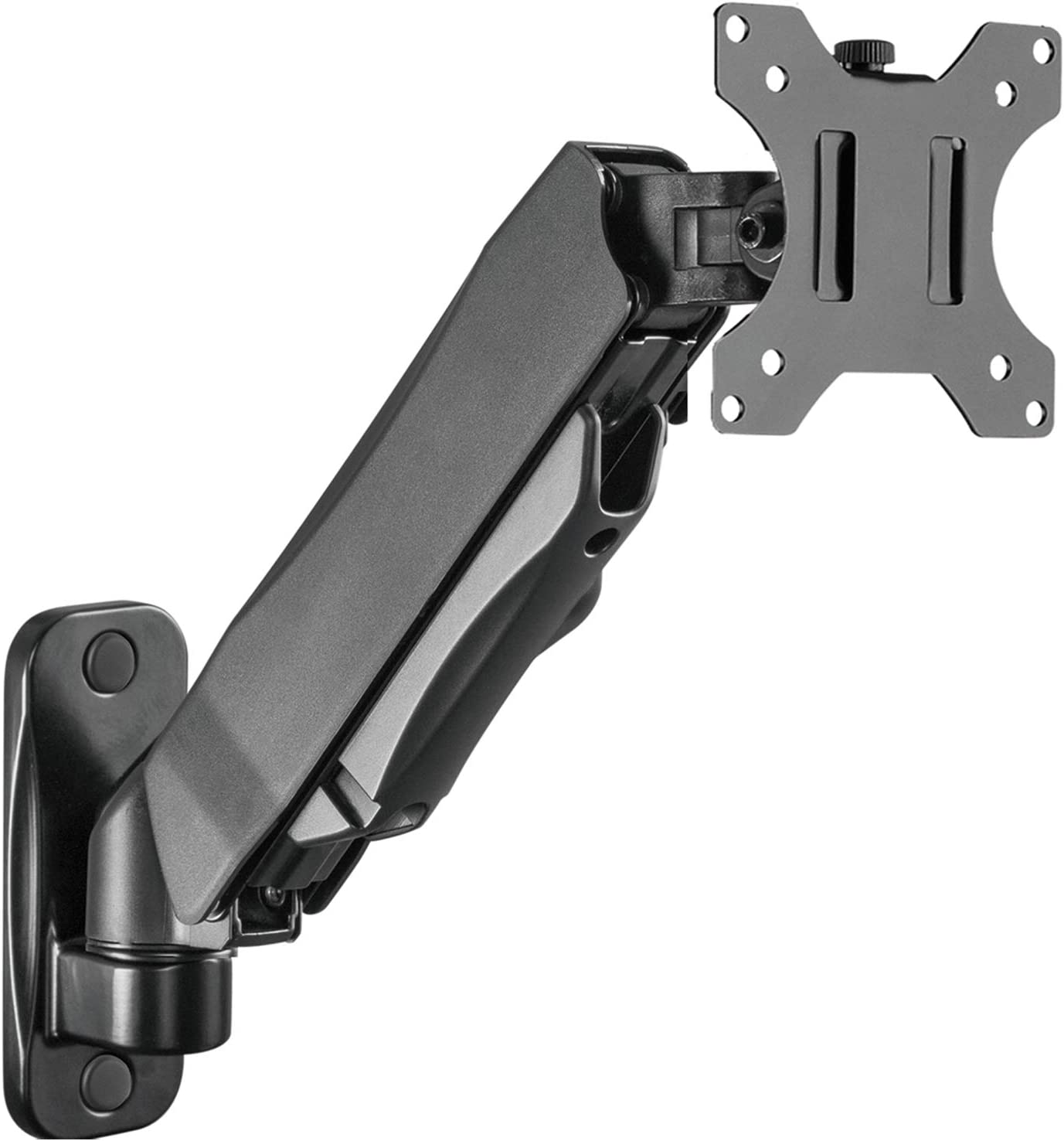 WALI Single LCD Monitor Gas Spring Wall Mount Fully Adjustable Fits 1 Screen up to 27 inch, 14.3 lbs Weight Capacity, Arm Max Extension 13.4 inch (GSWM001S), Black
