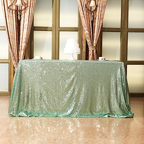 Eternal Beauty Wedding Tablecloth, Square Sequin Tablecloth for Party, Glitter Party Tablecloth(Mint Green 48