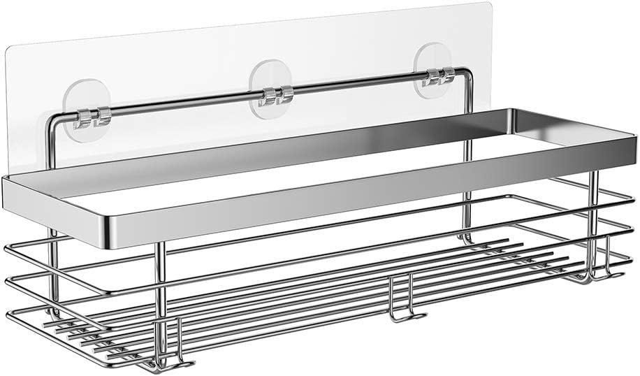 ODesign Shower Caddy Basket Shelf with Hooks for Shampoo Conditioner Bathroom Kitchen Storage Organizer SUS304 Stainless Steel - No Drilling