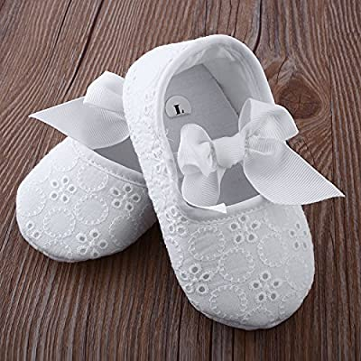 Auntwhale Nuevo Bebé Infantil Niños Niña, niño pequeño, recién nacido Prewalker Floral Soft Soled Bowknot Flats Flower Antiskid Sandal Sneaker Ribbon