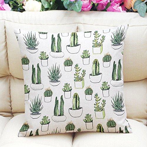 Kayau Pillow Cover Home Decor Cotton Linen Throw Sofa Pillow Case Car Cushion Cover 45x45 cm (Cactus plant) (# 2)