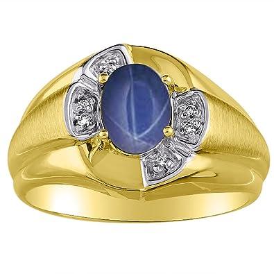 7a3f9f242460 Juego de anillos de zafiro y diamante de estrella azul en oro amarillo de  14 K o blanco de 14 K  Amazon.es  Joyería
