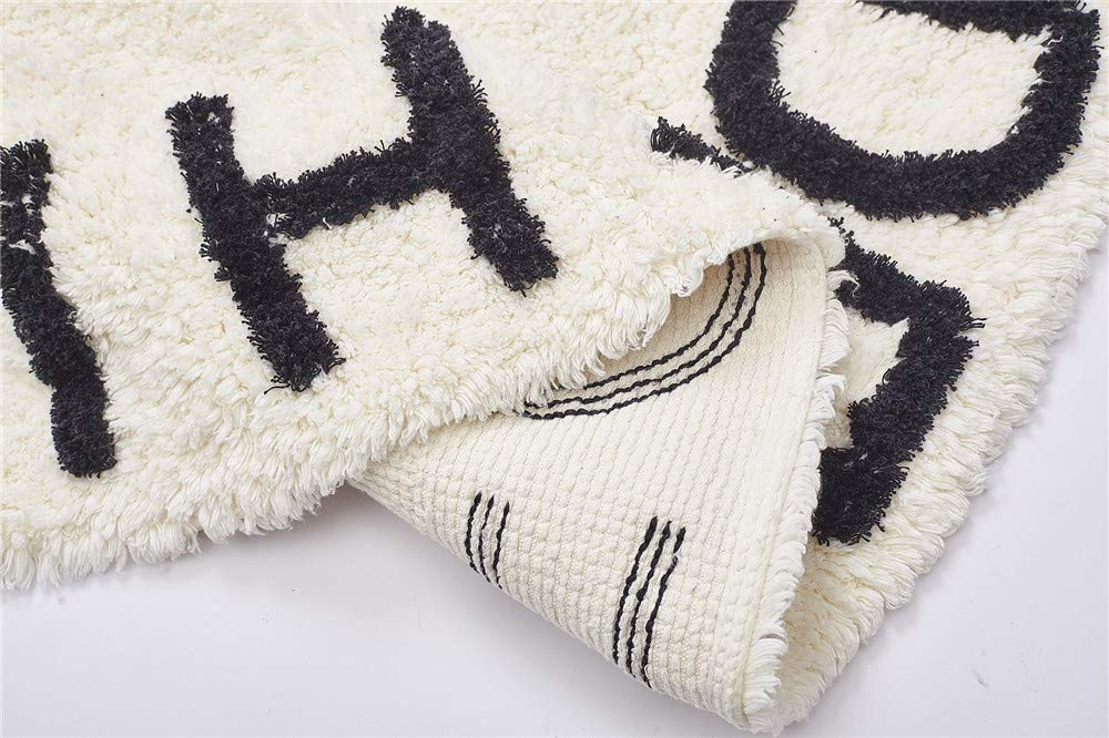 Off White FasterS ABC Baby Rug for Nursery Kids Round Educational Alphabet Warm Soft Large Activity Mat Floor Area Rugs Cotton Non-Slip for Children Toddlers Bedroom 59inch