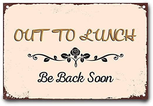 Amazon.com: wendana Out to Lunch Be Back Soon Metal Signs Vintage ...