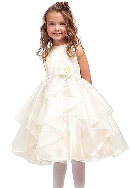 c0df1b173fd Amazon.com  DressForLess Satin Bodice with Layered Organza Ruffle Skirt  Flower Girl Dress  Clothing